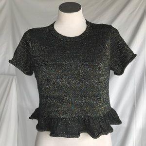 Zara black glitter crop top sz Small